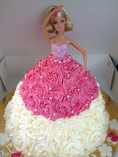Barbie cake - like this but all white w/ rosary, cross, chalice Barbie Birthday Cake, Barbie Party, Birthday Cake Girls, 5th Birthday, Birthday Cakes, Birthday Ideas, Barbie Cake Designs, Deco Cupcake, Bolo Barbie