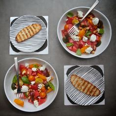 Tomato Watermelon Salad with Goat Cheese
