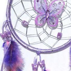 Purple Dream Catcher with Angel Wings | Dreamcatcher with Butterflies, purple