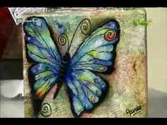 YouTube Butterfly Art, Mixed Media Art, Handicraft, Decoupage, Stencils, Art Deco, Youtube, Mayo 2016, Crafts