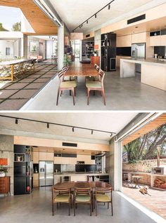 This house has an indoor/outdoor living environment, and in the kitchen, light wood cabinets have been combined with a concrete peninsula for a modern look. Outdoor Kitchen Countertops, Concrete Countertops, Concrete Floor, Kitchen Backsplash, Hells Kitchen, Semarang, Light Wood Cabinets, Ikea, Street House