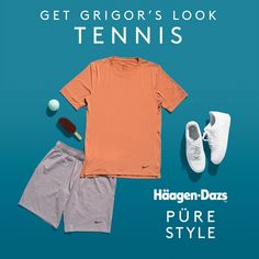 We've teamed up with tennis legend Grigor Dimitrov to create this summer's most stylish looks. Ace court-side style with these must-have items! Chocolate Orange Cheesecake, Salted Caramel Ice Cream, Tennis Legends, Icecream Bar, Belgian Chocolate, Ireland, Fashion Inspiration, Active Wear, Branding