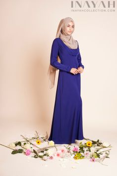 The Royal Blue Ruched Abaya, soft and subtle this floor-sweeping style lightweight with a loose, flattering fit and a fluid flow to the hem. A perfect maternity dress for a special occasion.  www.inayahcollection.com #maternitywea#specialoccasion
