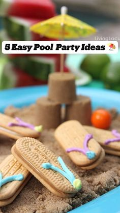 Cute Beach or Pool Party Ideas for kids Nutter Butter Flip Flop Cookies and more fun food recipes and printables for summer parties By Amy Locurto Pool Party Kids, Beach Party, Wedding Beach, Party Party, Trendy Wedding, Pool Fun, Kid Pool, Vintage Diy, Surf Vintage