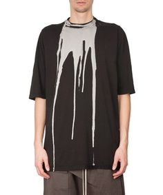 RICK OWENS DRKSHDW Bleached Cotton Jumbo T-Shirt. #rickowensdrkshdw #cloth #t-shirt