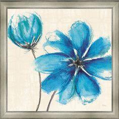 Blue blooms framed print