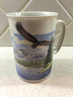 Vintage Hour of Power Dr Schuller Isaiah 40:13 Wings like Eagles Coffee Mug Religious Collectible Christian Gift Home Decor Scripture by Samanthasunshineshop on Etsy