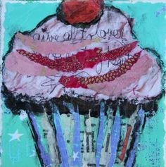 """Festive Cupcake, Contemporary Mixed Media Still Life by Arizona Artist Amy Whitehouse"" - Original Fine Art for Sale - © Amy Whitehouse"