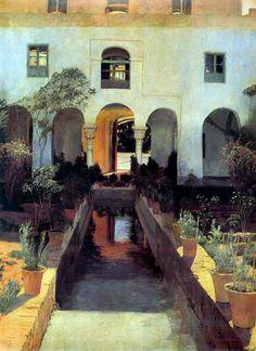 The Athenaeum - El Generalife (Santiago Rusiñol Prats - ) Spanish Art, Art Painting, Landscape Paintings, Spanish Artists, Fine Art, Art Appreciation, Artist Inspiration, Amazing Paintings, Garden Painting