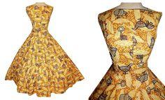 Vintage 50's NOVELTY PRINT Batik Primitive Ethnic Cotton Dress // 1950's Bird Wheel Teapot // Full Skirt Circle Rockabilly Dress by TheVintageVaultShop on Etsy