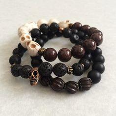 Chocolate Jade & White Skull Bracelet unisex bracelet by foxandson