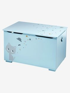 Baúl de almacenaje tema Gatito - Azul - 1