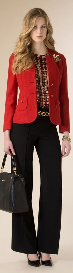 Luisa Spagnoli 2015/16 I love the jacket and blouse. I would wear slimmer pants. Beautiful look.