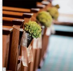 Galvanized pails filled with green hydrangea hung from the pews.