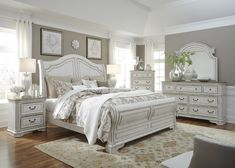 Antique white sleigh bed set Elizabeth collection