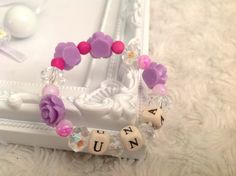 Personalized beaded floral bracelet, Personalized jewellery, Beaded name bracelet bangle, Personalized bangle, Beaded jewellery Purple Pink by AwesomeBabiesShop on Etsy