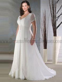 9c8e4a236be Plus Size White Short Sleeves Empire Waist V-Neck Beading Satin Chiffon Wedding  Dress