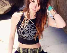 Sri Yantra Sacred Geometry Fitted Crop Tank