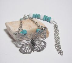 Beaded Butterfly Car accessory Turquoise car by GreenCloverCrafts