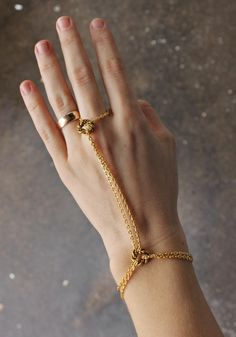Double Chain #HandHarness - Lily Dawson Designs, $25.00 #statementjewelry #handmade http://www.lilydawsondesigns.com/shop/bracelets-and-wraps/double-chain-hand-harness/
