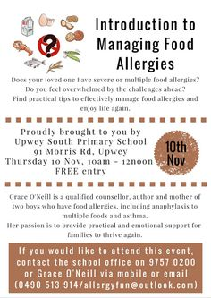 Upwey South Primary School extend an invitation to members of the allergy community to this FREE event. Feeling Overwhelmed, Food Allergies, Primary School, Childrens Books, Invitation, Community, Fun, Children's Books, Elementary Schools