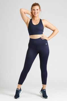 Simple, stylish, squat proof and pocket free, our Women's Activewear Navy Leggings in length are available in sizes in sizes Small to Navy Leggings, Downward Dog, Squats, Size 16, Perfect Fit, Active Wear, Tights, Essentials, Sporty