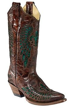 Corral Ladies Whiskey Marble Brown w/Turquoise Fleur de Lis Snip Toe Western Boot