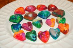 """DIY Valentine's Day heart crayons.   """"You color my world, Valentine!"""""""