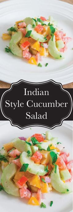 An Indian inspired cucumber salad with tomatoes, peppers, and red onion with a yogurt and lemon dressing that's delicious on it's own, or as a way to cool the spice from another dish. Indian Cucumber Salad, Indian Salads, Cucumber Yogurt Salad, Yogurt Salad Dressings, Salad Dressing Recipes, Tea Recipes, Indian Food Recipes, Savoury Recipes, Yummy Appetizers