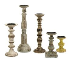 Set 5 Colorful Wood Candle Holder Distressed Finish