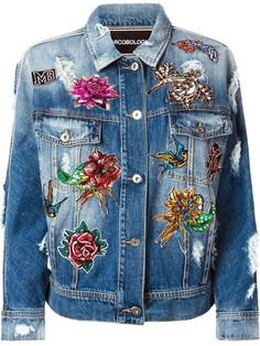 Marco Bologna embroidered distressed denim jacket.