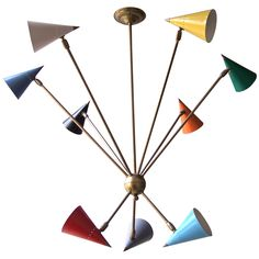 Anonymous, Enameled Metal and Brass Chandelier by  Stilnovo, 1950's.