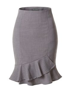 Womens Fitted High Waisted Ruffle Pencil Office Midi Skirt with Stretch Chifon Dress, Work Skirts, Midi Skirts, Pencil Skirt Outfits, Pencil Skirts, Pencil Dress, Business Professional Attire, Office Skirt, Mermaid Skirt