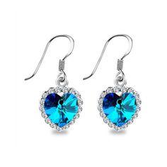 Tineke Heart Ocean Crystal Drop Earrings Romantic Gifts Party