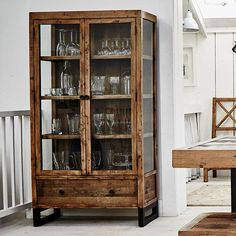 Handcrafted Using Recycled Wood Standford Reclaimed Gl Display Cabinet Is Delivered With Free Uk