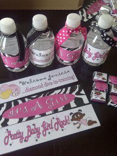 Baby shower water bottle labels (Theme: zebra print, pink, white and black) #partyfavors #waterbottles #hersheynuggets #pinkandblack #zebra #babyshower #girl