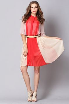 Contrast Colored Pleated Chiffon Dress with Vest $105.00 @Oasap