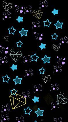 Neon star wallpaper my style pinterest bilder for Schwarze glitzer tapete