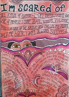"""This began as one of my inky pages with water dropped onto it. I drew the """"tear"""" or crack across it, with me peeping out at the world, a..."""