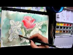 Line and Wash Watercolor Painting - Roses - YouTube