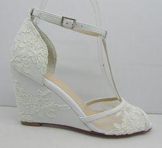Lace Wedding Shoes,Lace Wedge Bridal Shoes,Peeptoes Wedding Shoes, Wedge Heel Lace Shoes, Prom Shoes