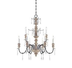 Madeliane 9 light chandelier - whitewashed wood and iron