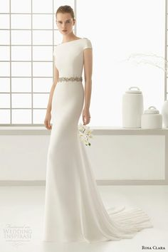 """Denise"" -- Column/Sheath Wedding Gown With Bateau Neckline & Short Sleeves by Rosa Clara´ 2016 Bridal Collection"