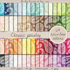64 paisley digital paper paisley clipart paper by thedigirainbow