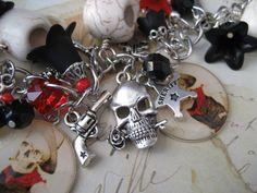 Cowboys and Skeletons Charm Bracelet by KnotJustMacrame on Etsy, $44.99