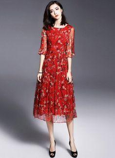 Rojo Seda Llanura Media manga Hasta las rodillas Vestidos