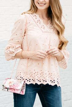 bd690fe0114ac3 Blush Eyelet Bell-Sleeve Top   Ted Baker Bag   Summer and Fall Style