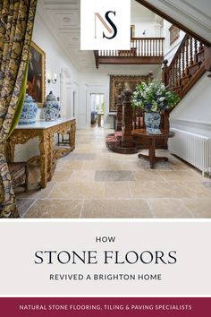 While completely renovating a nine-bedroom, nine-bathroom Brighton property, its new owners were keen to preserve its integrity and history. They chose antiqued limestone tiles for the hallway because the neutral tones of beige, grey and hints of yellow in the stone complemented the dark wood of the staircase. Discover what they used in the downstairs, including the utility room, over on the blog. #naturalstoneconsulting #naturalstone #stonetilefloors Flagstone Flooring, Limestone Flooring, Natural Stone Flooring, Brighton Houses, Paving Stones, Flooring Options, Modern Spaces, Stone Tiles, Interior Design Inspiration