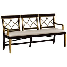 Shop for Jonathan Charles Three Seater Regency Walnut Bench, Upholstered In Mazo, and other Living Room Benches at Ariana Home Furnishings in Cumming, GA. Entry Furniture, Fine Furniture, Furniture Design, Antique Furniture, Traditional Benches, Living Room Bench, Upholstered Bench, Country Style Homes, Country Decor