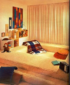 sleeping pit, 17 magazine, March 1969 by jmbder, via room design interior house design interior design 2012 Retro Interior Design, Mid-century Interior, Interior And Exterior, Interior Modern, Interior Decorating, Decorating Ideas, Casa Retro, House Design Photos, Vintage Room